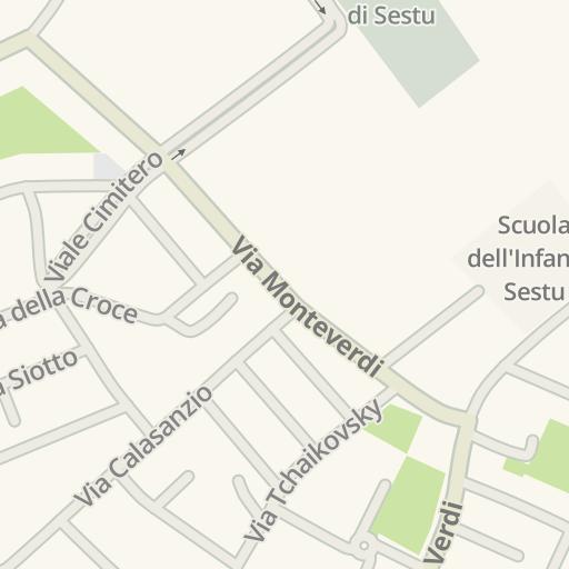 Waze Livemap מסלול נסיעה אל Poliemme Sestu Italy