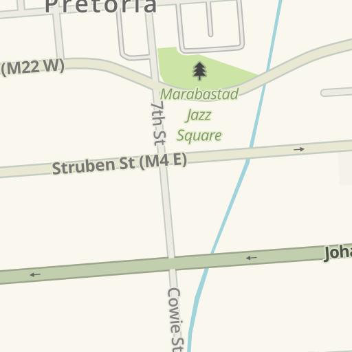 Waze Livemap - Driving Directions to 4 Aces, Pretoria West, Pretoria, Suid-Afrika